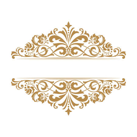Vintage gold frame on a white background. Graphic design.