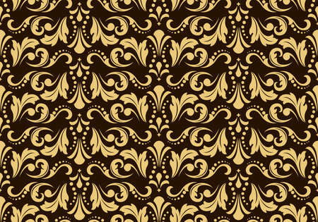 Floral pattern. Vintage wallpaper in the Baroque style. Seamless vector background. Dark brown and gold ornament for fabric, wallpaper, packaging. Ornate Damask flower ornament