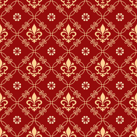 Floral pattern. Vintage wallpaper in the Baroque style. Seamless background. Red and gold ornament for fabric, wallpaper, packaging. Ornate Damask flower ornament Banco de Imagens