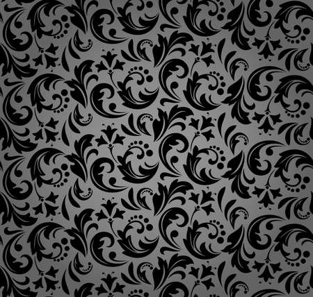 Flower pattern. Seamless black ornament. Graphic background. Ornament for fabric, wallpaper, packaging