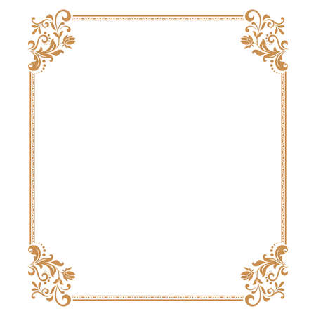 Decorative frame. Elegant element for design in Eastern style, place for text. Floral golden border. Lace illustration for invitations and greeting cards.