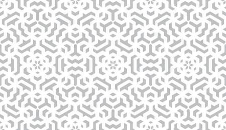 Abstract geometry pattern in Arabian style. Seamless background. White and grey graphic ornament. Simple lattice graphic design.