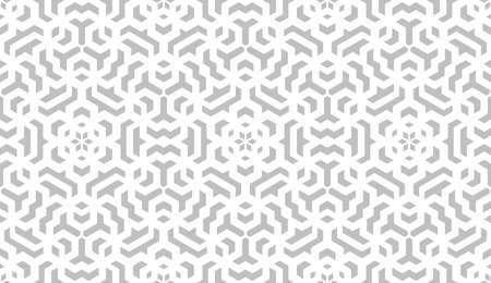 Modello di geometria astratta in stile arabo. Sfondo senza soluzione di continuità. Ornamento grafico bianco e grigio. Design grafico semplice reticolo.