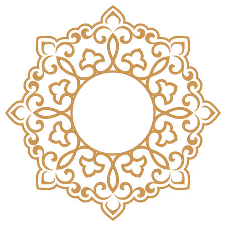 Decorative frame. Elegant element for design in Eastern style, place for text. Floral golden border. Lace illustration for invitations and greeting cards