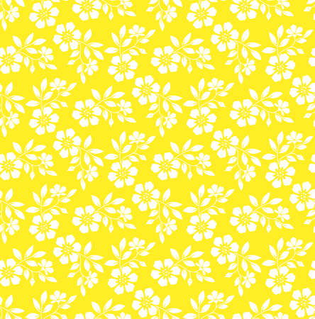 Flower pattern. Seamless white and yellow ornament. Graphic background. Ornament for fabric, wallpaper, packaging