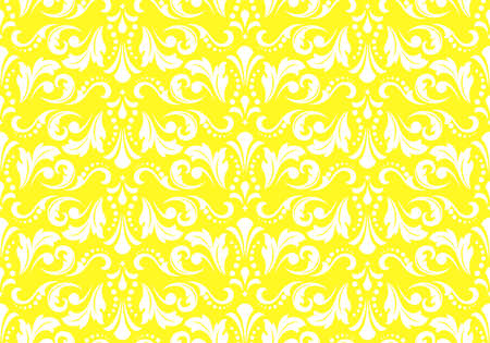 Floral pattern. Vintage wallpaper in the Baroque style. Seamless background. White and yellow ornament for fabric, wallpaper, packaging. Ornate Damask flower ornament