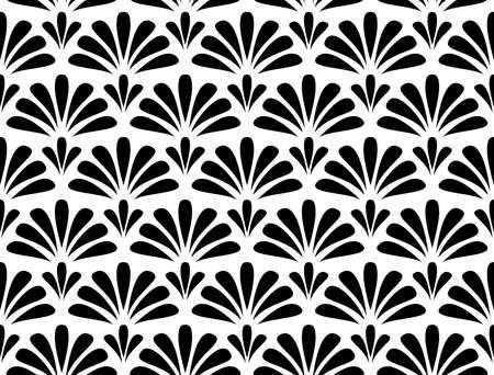 花の幾何学模様。シームレスなベクターの背景。白と黒の装飾。布、壁紙、包装、装飾プリントのための装飾 ベクターイラストレーション