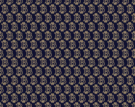 Abstract geometric pattern with bitcoin. A seamless background. Dark blue and gold ornament. Graphic modern pattern. Simple lattice graphic design. - Vector illustration
