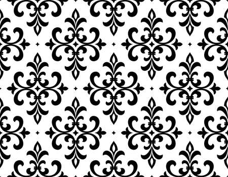 Wallpaper in the style of Baroque. Seamless background. White and black floral ornament. Graphic pattern for fabric, wallpaper, packaging. Ornate Damask flower ornament Stock Photo