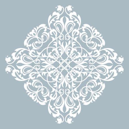 Ornamento grafico damascato. Elemento di design floreale. Modello vettoriale blu