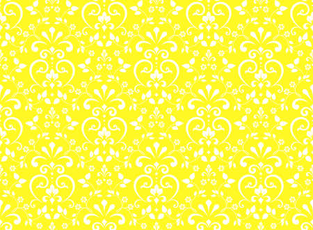Wallpaper in the style of Baroque. Seamless background. White and yellow floral ornament. Graphic pattern for fabric, wallpaper, packaging. Ornate Damask flower ornament