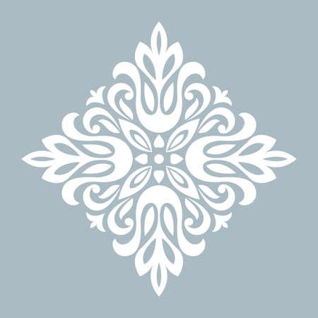 Damask graphic ornament. Floral design element. Blue vector pattern Illustration