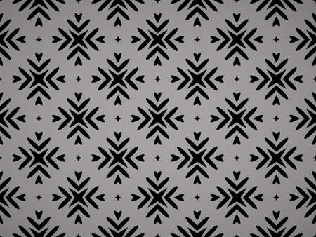 Abstract geometric pattern with lines, snowflakes. A seamless vector background. Black texture. Graphic modern pattern Ilustracja