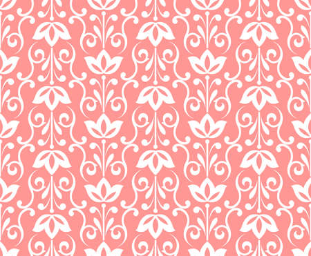 Flower geometric pattern. Seamless vector background. White and pink ornament. Ornament for fabric, wallpaper, packaging, Decorative print
