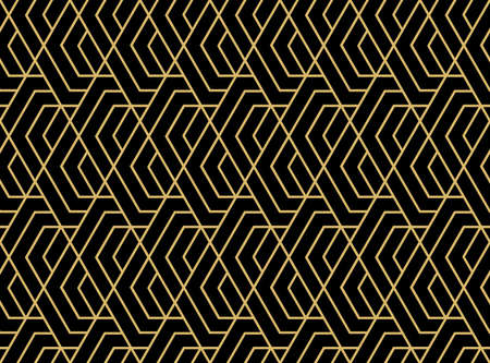 Abstract geometric pattern with stripes, lines. Seamless vector background. Black and gold ornament. Simple lattice graphic design Ilustracja