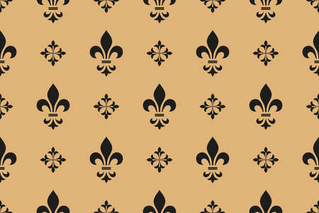 Flower geometric pattern. Seamless vector background. Black and gold ornament. Ornament for fabric, wallpaper, packaging, Decorative print Ilustracja