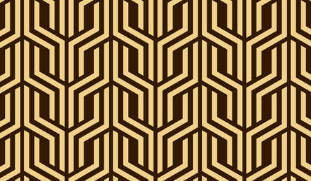 Abstract geometric pattern with stripes, lines. Seamless vector background. Dark brown and gold ornament. Simple lattice graphic design