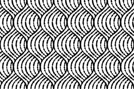 The geometric pattern with wavy lines. Seamless vector background. White and black texture. Simple lattice graphic design
