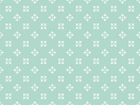 Flower geometric pattern. Seamless vector background. White and blue ornament. Ornament for fabric, wallpaper, packaging, Decorative print Ilustracja