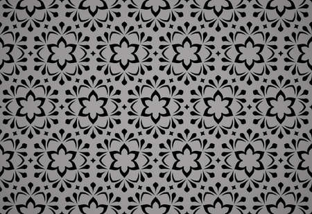 Flower geometric pattern. Seamless vector background. Black ornament. Ornament for fabric, wallpaper, packaging, Decorative print