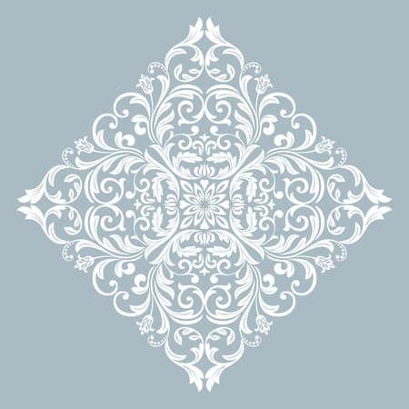 Damask graphic ornament. Floral design element. Blue vector pattern Ilustracja