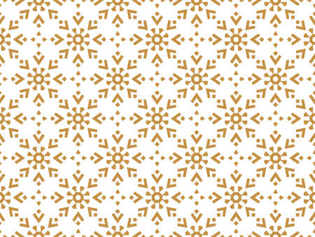 Abstract geometric pattern with lines, snowflakes. A seamless vector background. White and gold texture. Graphic modern pattern