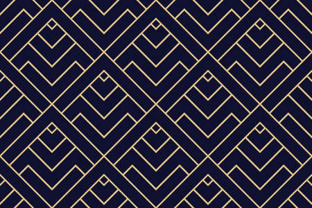 Abstract geometric pattern with stripes, lines. Seamless vector background. Dark blue and gold ornament. Simple lattice graphic design Ilustracja