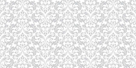 Floral pattern. Vintage wallpaper in the Baroque style. Seamless vector background. White and grey ornament for fabric, wallpaper, packaging. Ornate Damask flower ornament. Ilustracja