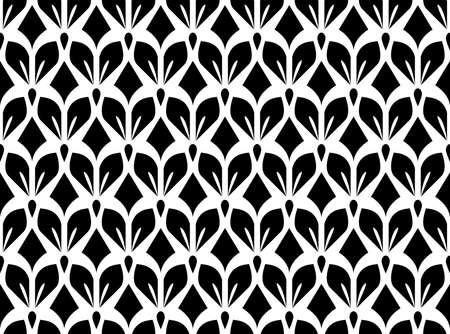 Flower geometric pattern. Seamless vector background. White and black ornament. Ornament for fabric, wallpaper, packaging, Decorative print Ilustracja