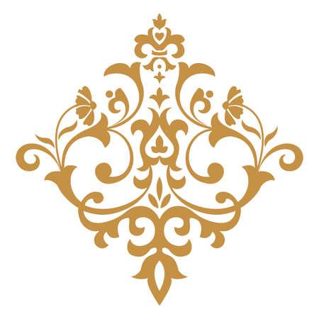 Damask graphic ornament. Floral design element. Gold pattern