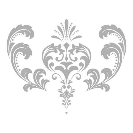 Damask graphic ornament. Floral design element. Grey pattern