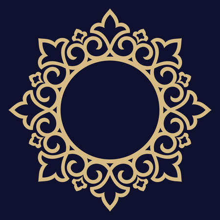 Decorative frame Elegant element for design in Eastern style, place for text. Floral golden border. Lace illustration for invitations and greeting cards. Stockfoto