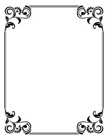 Marco decorativo Elemento de vector elegante para diseño en estilo oriental, lugar para el texto. Borde negro floral. Ilustración de encaje para invitaciones y tarjetas de felicitación.