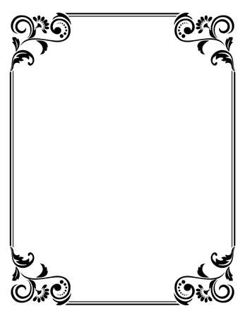 Ozdobne ramki Elegancki element wektora do projektowania w stylu wschodnim, miejsce na tekst. Kwiatowy czarny obramowanie. Koronkowa ilustracja na zaproszenia i kartki z życzeniami