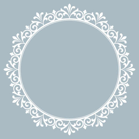 Decorative frame Elegant element for design in Eastern style, place for text. Floral blue border. Lace illustration for invitations and greeting cards