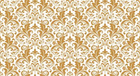 Tapeta w stylu barokowym. Bezszwowe tło. Biały i złoty kwiatowy ornament. Wzór graficzny na tkaninę, tapetę, opakowanie. Ozdobny ornament z kwiatów adamaszku