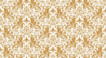 Wallpaper in the style of Baroque. Seamless background. White and gold floral ornament. Graphic pattern for fabric, wallpaper, packaging. Ornate Damask flower ornament