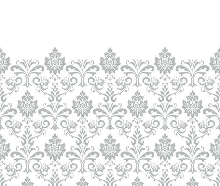 Floral pattern. Vintage wallpaper in the Baroque style. Vector background. White and grey ornament for fabric, wallpaper, packaging. Ornate Damask flower ornament.