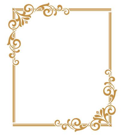 Marco decorativo Elemento de vector elegante para diseño en estilo oriental, lugar para el texto. Borde dorado floral. Ilustración de encaje para invitaciones y tarjetas de felicitación.
