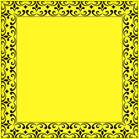 Decorative frame Elegant vector element for design in Eastern style, place for text. Floral yellow and black border. Lace illustration for invitations and greeting cards