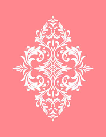 Damask graphic ornament. Floral design element. Pink vector pattern Ilustrace