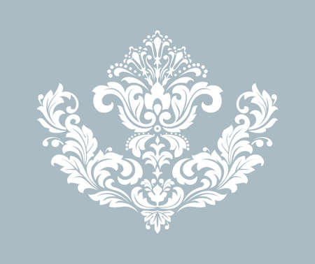 Damask graphic ornament. Floral design element. Blue vector pattern Ilustrace