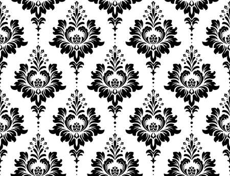 Tapeta w stylu barokowym. Bezszwowe tło. Biały i czarny kwiatowy ornament. Wzór graficzny na tkaninę, tapetę, opakowanie. Ozdobny ornament z kwiatów adamaszku Ilustracje wektorowe