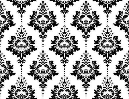 Tapete im Barockstil. Nahtloser Vektorhintergrund. Weiße und schwarze Blumenverzierung. Grafikmuster für Stoff, Tapete, Verpackung. Verzierte Damastblumenverzierung Vektorgrafik
