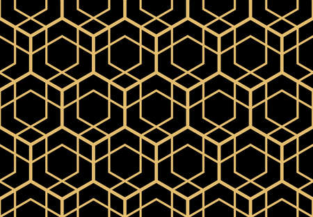 The geometric pattern with lines. Seamless vector background. Gold and black texture. Graphic modern pattern. Simple lattice graphic design Illusztráció