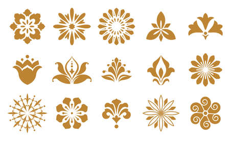 Vector floral set. Spring or summer design for invitation, wedding or greeting cards. Design elements in graphic style. White and gold ornament