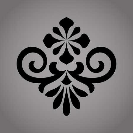 Damask graphic ornament. Floral design element. Black vector pattern.
