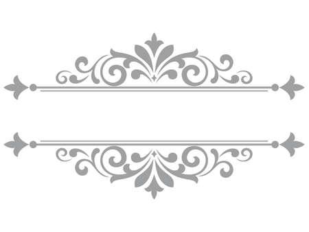 Vintage grey element. Graphic design. Damask graphic ornament