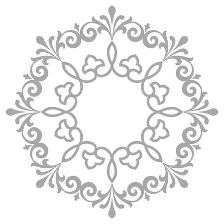 Decorative frame Elegant element for design in Eastern style, place for text. Floral grey border. Lace illustration for invitations and greeting cards