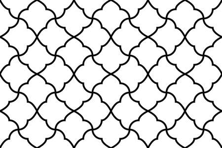Flower geometric pattern. Seamless background. White and black ornament. Ornament for fabric, wallpaper, packaging. Decorative print Imagens